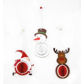 SET DE 3 DECORATIONS DE NOEL ALVÉOLÉE 12CM