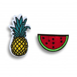 SET DE DEUX BROCHES ANANAS PASTEQUE