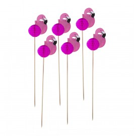 CAKE TOPPERS FLAMANTS ROSES ALVEOLES X 12