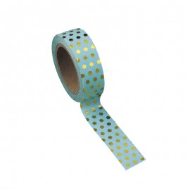 Washi tape celadon à pois or
