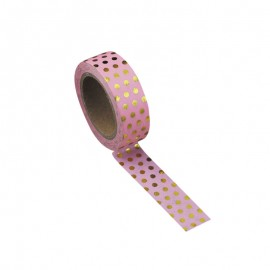 Washi tape rose vintage à pois or