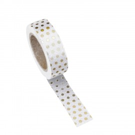 Washi tape blanc à pois or