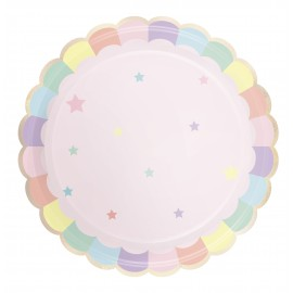 ASSIETTES FESTONNEES 23CM ROSE PASTEL X 8