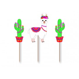 SET DE 3 CAKE TOPPERS FRIDA LAMA