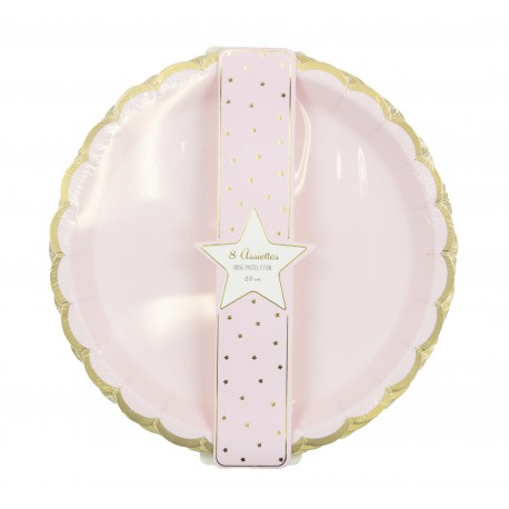 ASSIETTES FESTONNEES 23CM ROSE PASTEL ET OR X 8