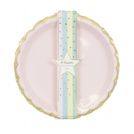 ASSIETTES FESTONNEES 23CM PASTEL ASSORTIS ET OR X 8